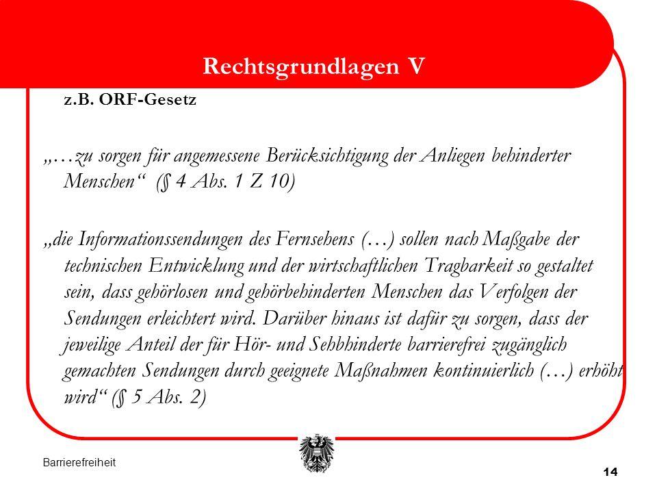 """Rechtsgrundlagen V z.B. ORF-Gesetz. """"…zu sorgen für angemessene Berücksichtigung der Anliegen behinderter Menschen (§ 4 Abs. 1 Z 10)"""