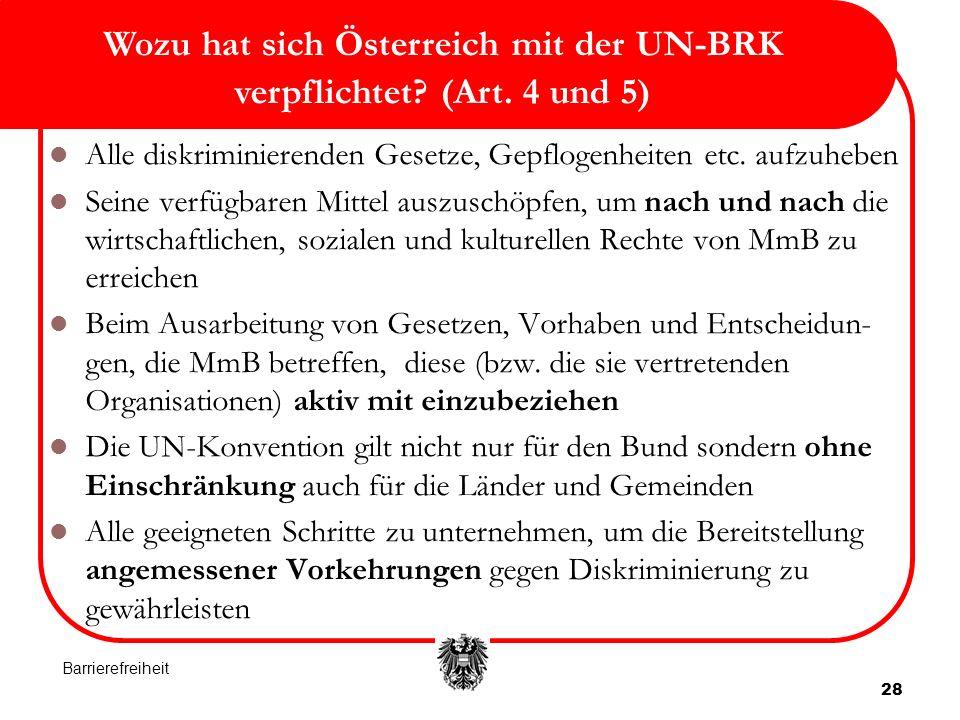 Wozu hat sich Österreich mit der UN-BRK verpflichtet (Art. 4 und 5)