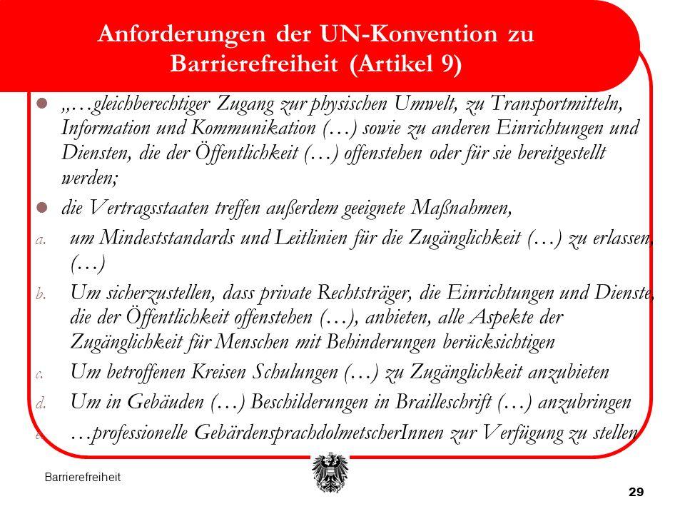 Anforderungen der UN-Konvention zu Barrierefreiheit (Artikel 9)