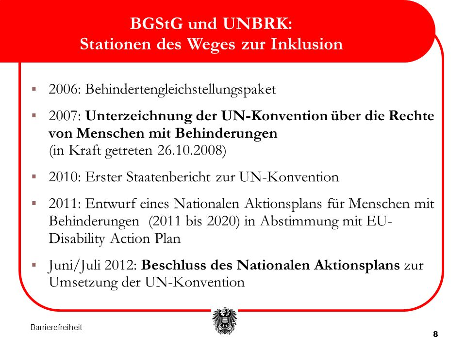 BGStG und UNBRK: Stationen des Weges zur Inklusion