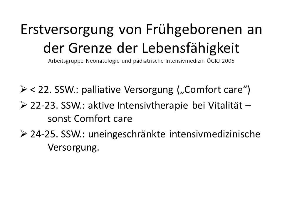 Erstversorgung von Frühgeborenen an der Grenze der Lebensfähigkeit Arbeitsgruppe Neonatologie und pädiatrische Intensivmedizin ÖGKJ 2005