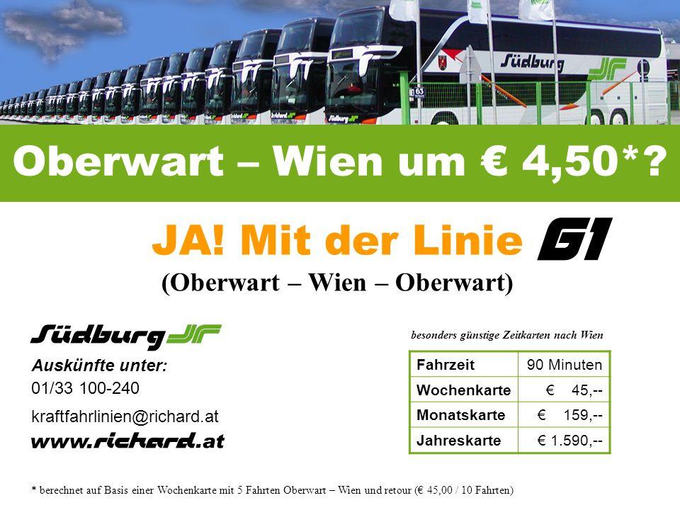 JA! Mit der Linie (Oberwart – Wien – Oberwart)