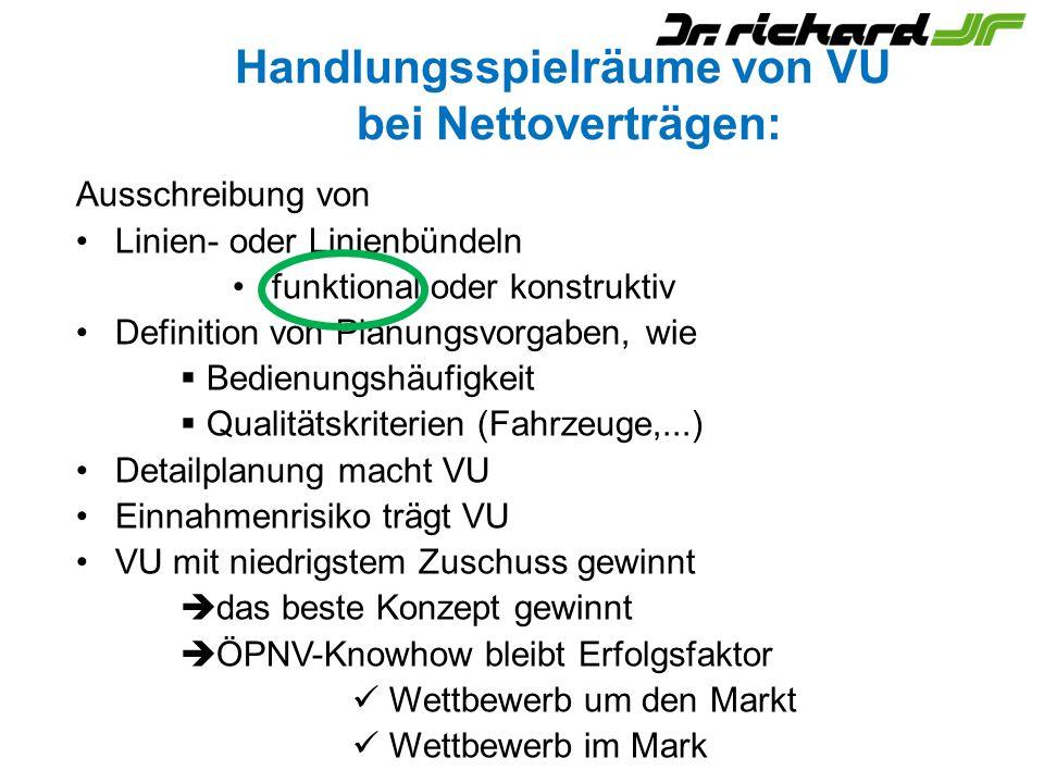 Handlungsspielräume von VU bei Nettoverträgen: