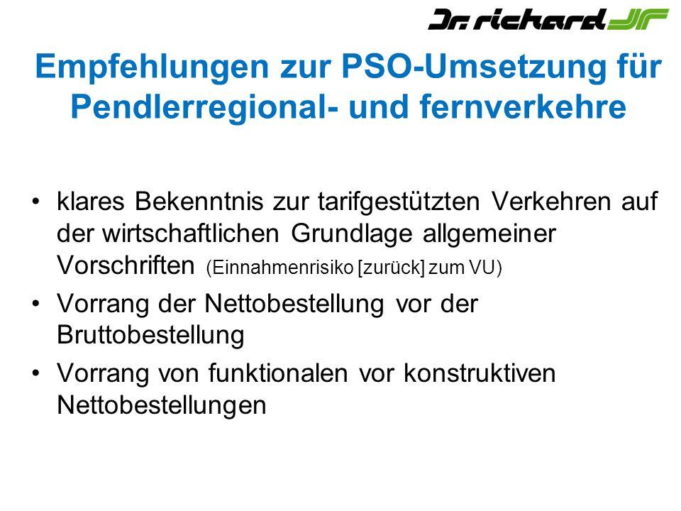 Empfehlungen zur PSO-Umsetzung für Pendlerregional- und fernverkehre