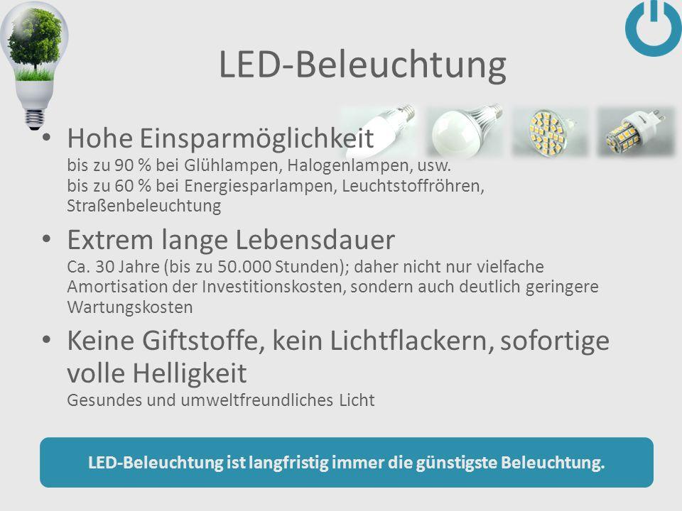 LED-Beleuchtung ist langfristig immer die günstigste Beleuchtung.