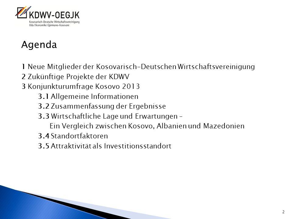 Agenda 1 Neue Mitglieder der Kosovarisch-Deutschen Wirtschaftsvereinigung. 2 Zukünftige Projekte der KDWV.