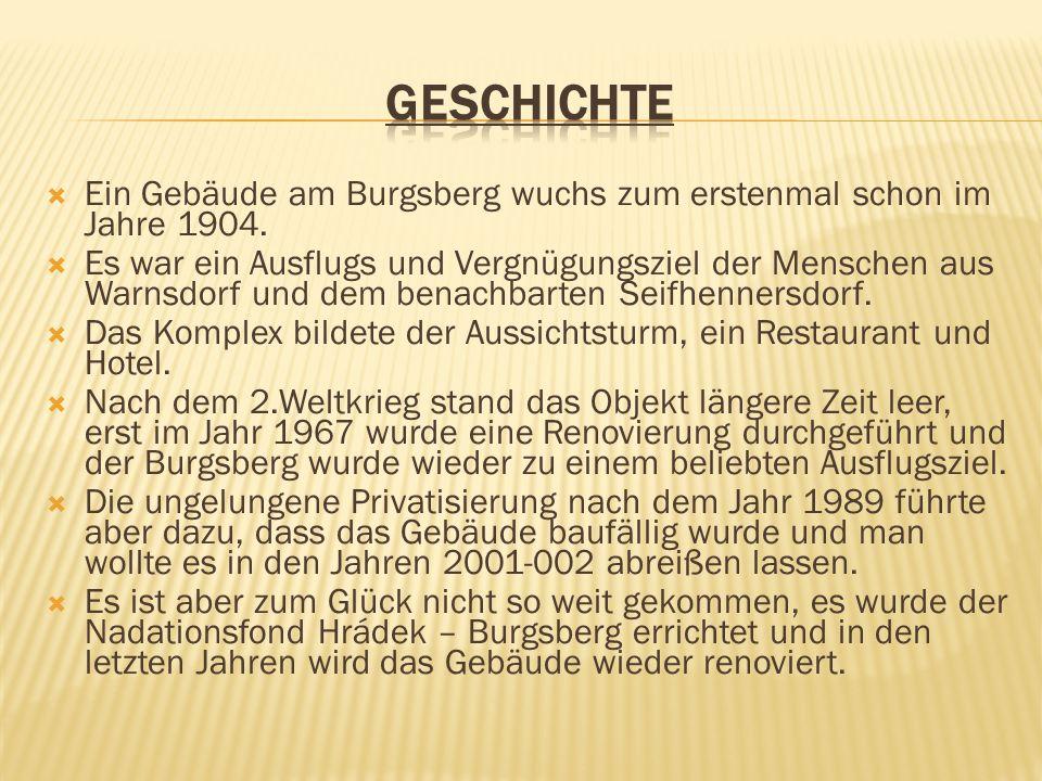 GESCHICHTE Ein Gebäude am Burgsberg wuchs zum erstenmal schon im Jahre 1904.