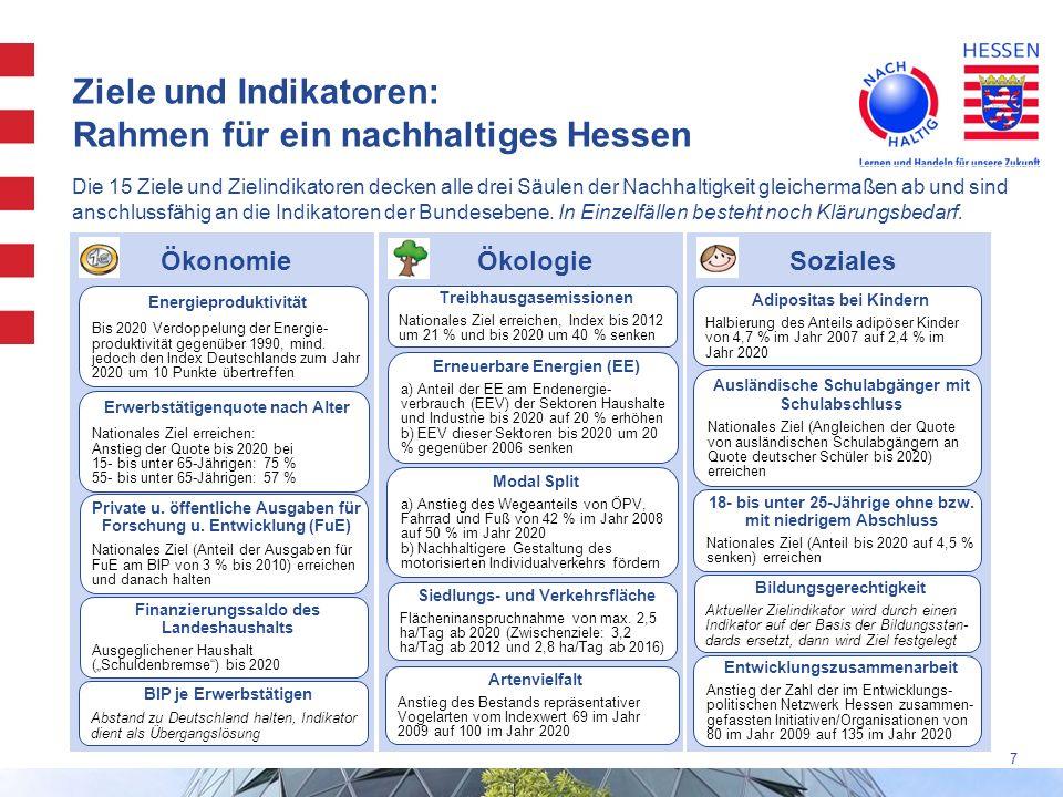 Ziele und Indikatoren: Rahmen für ein nachhaltiges Hessen