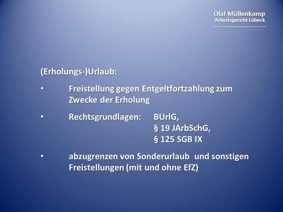 (Erholungs-)Urlaub: Freistellung gegen Entgeltfortzahlung zum Zwecke der Erholung. Rechtsgrundlagen: BUrlG, § 19 JArbSchG, § 125 SGB IX.