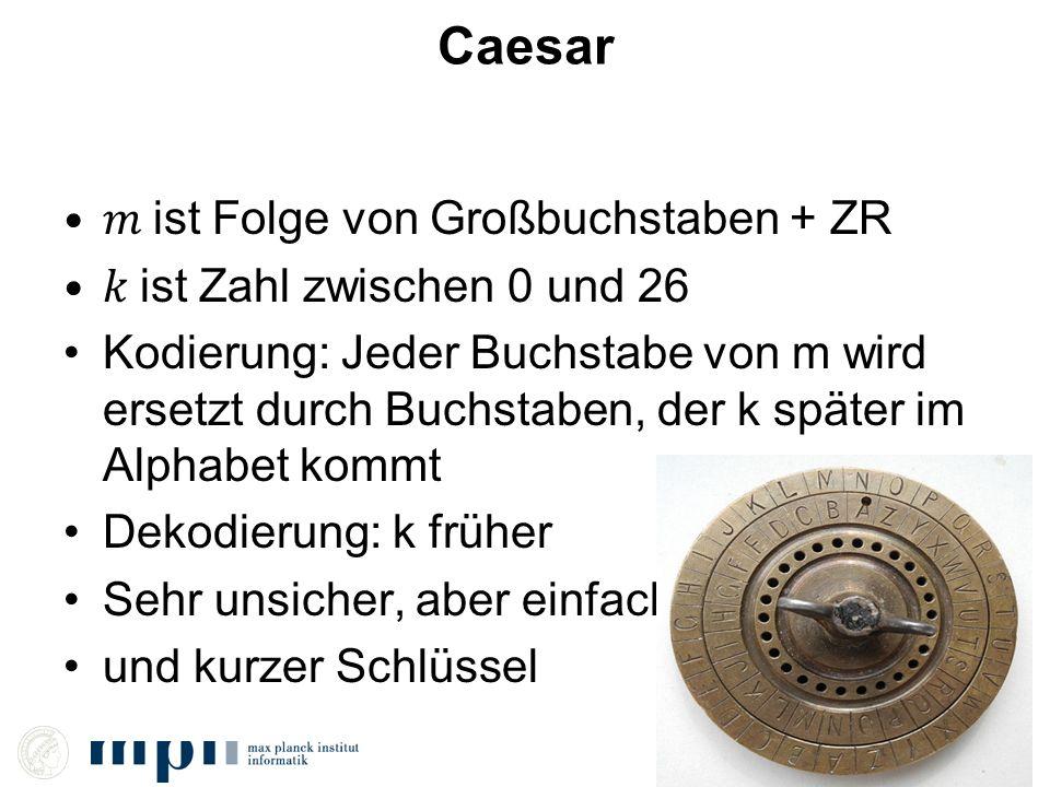 Caesar 𝑚 ist Folge von Großbuchstaben + ZR