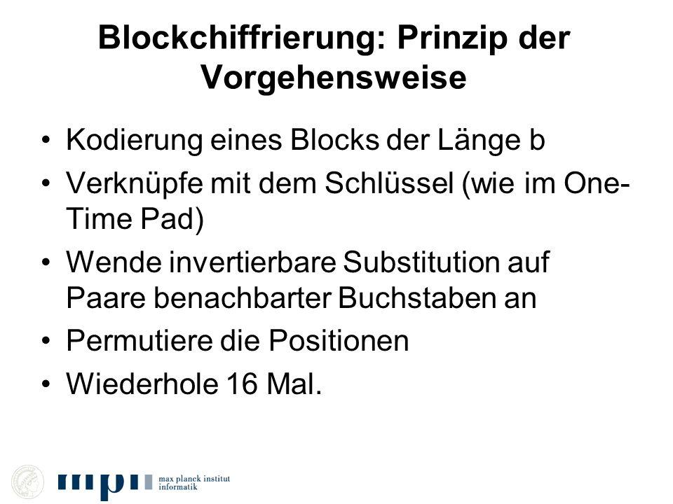 Blockchiffrierung: Prinzip der Vorgehensweise