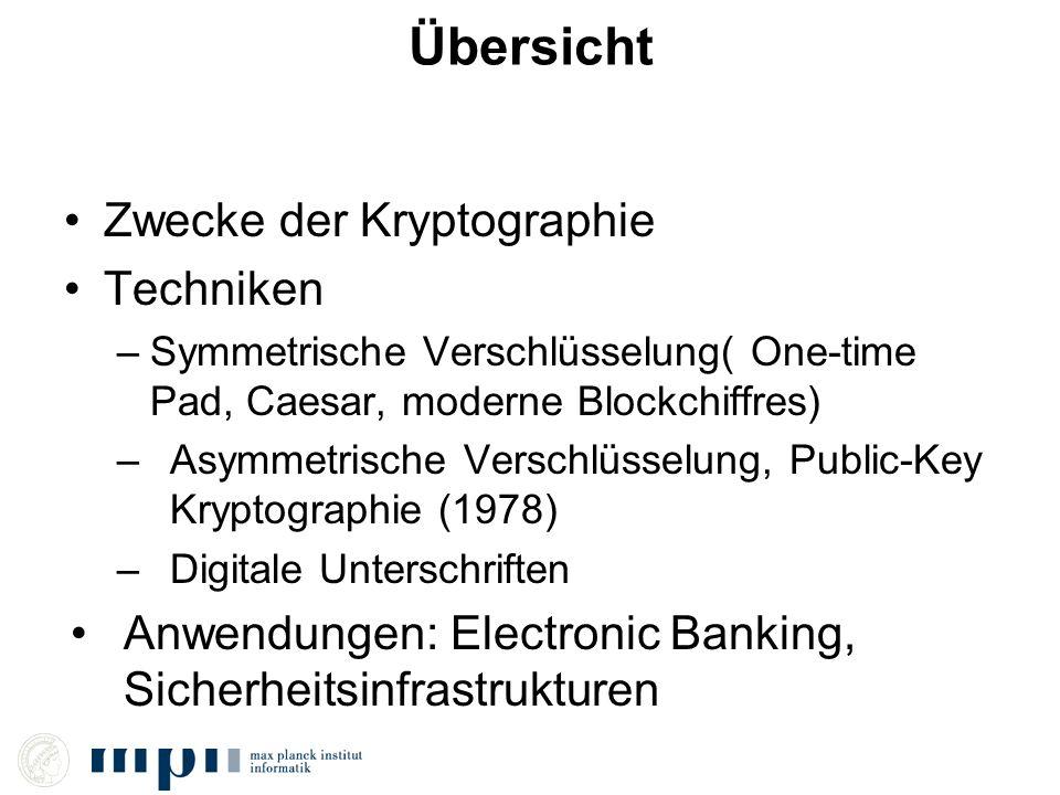 Übersicht Zwecke der Kryptographie Techniken