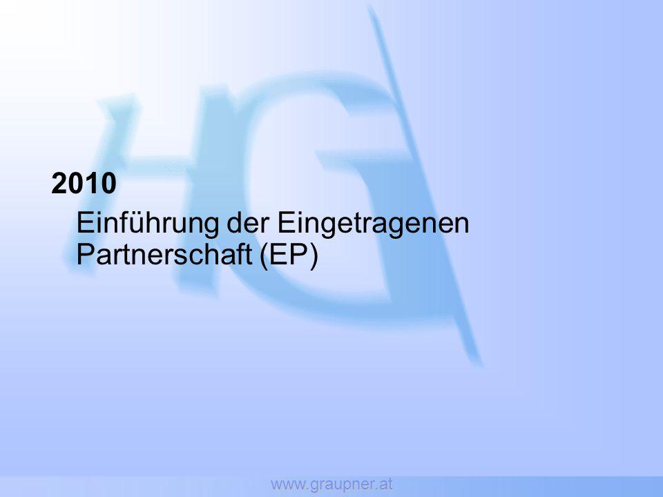 Einführung der Eingetragenen Partnerschaft (EP)