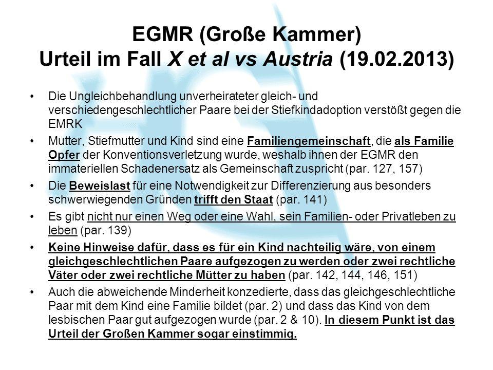 EGMR (Große Kammer) Urteil im Fall X et al vs Austria (19.02.2013)