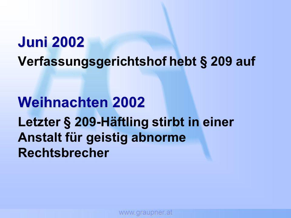 Juni 2002 Weihnachten 2002 Verfassungsgerichtshof hebt § 209 auf