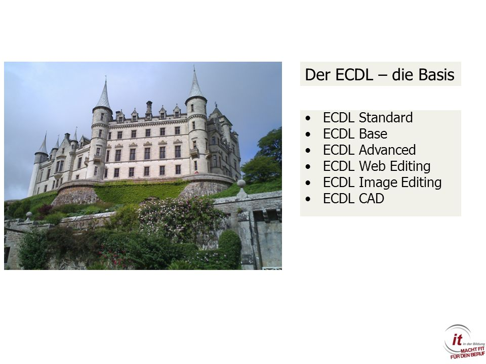 Der ECDL – die Basis ECDL Standard ECDL Base ECDL Advanced