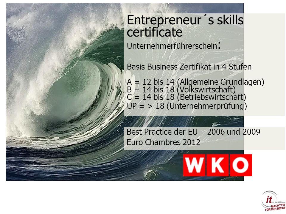 Entrepreneur´s skills certificate Unternehmerführerschein: Basis Business Zertifikat in 4 Stufen A = 12 bis 14 (Allgemeine Grundlagen) B = 14 bis 18 (Volkswirtschaft) C = 14 bis 18 (Betriebswirtschaft) UP = > 18 (Unternehmerprüfung)