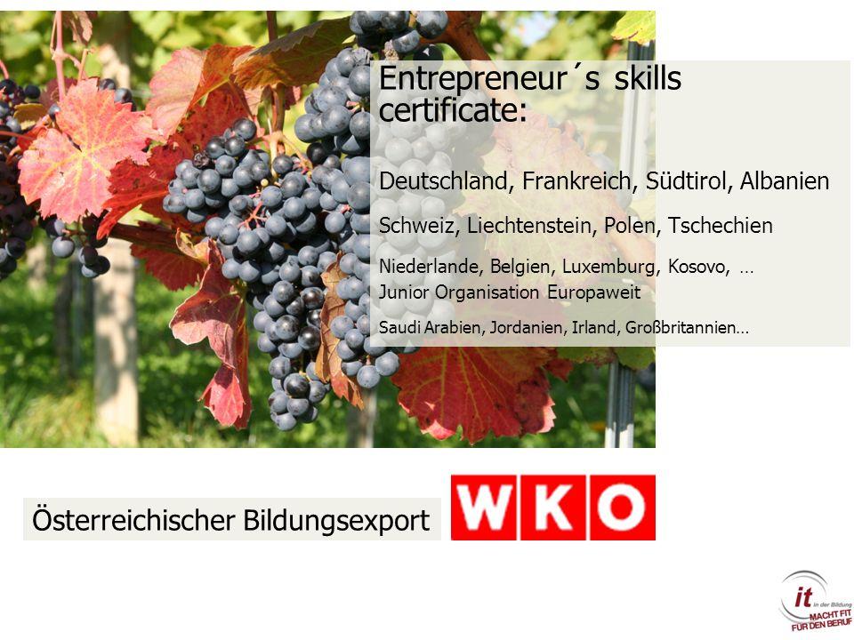 Entrepreneur´s skills certificate: Deutschland, Frankreich, Südtirol, Albanien