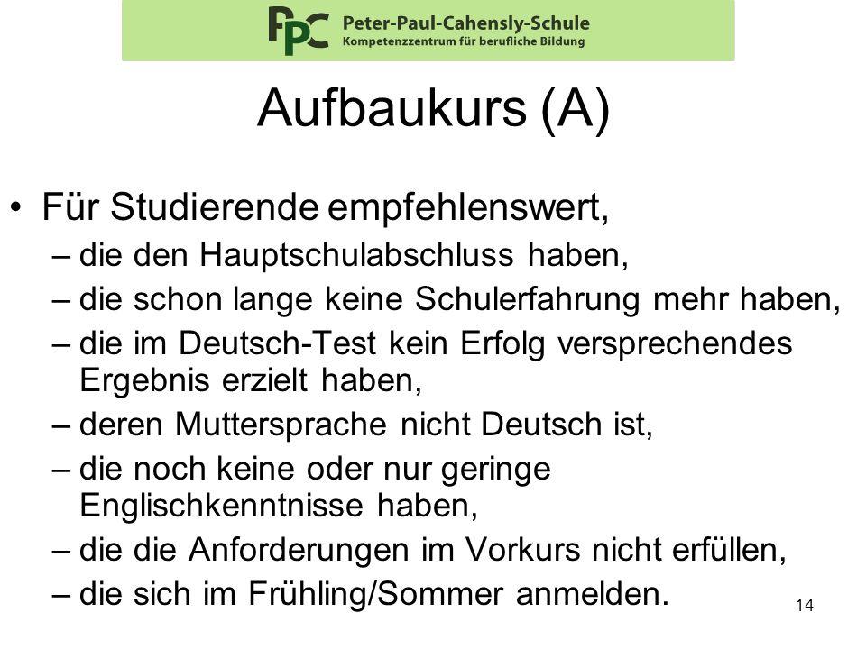 Aufbaukurs (A) Für Studierende empfehlenswert,