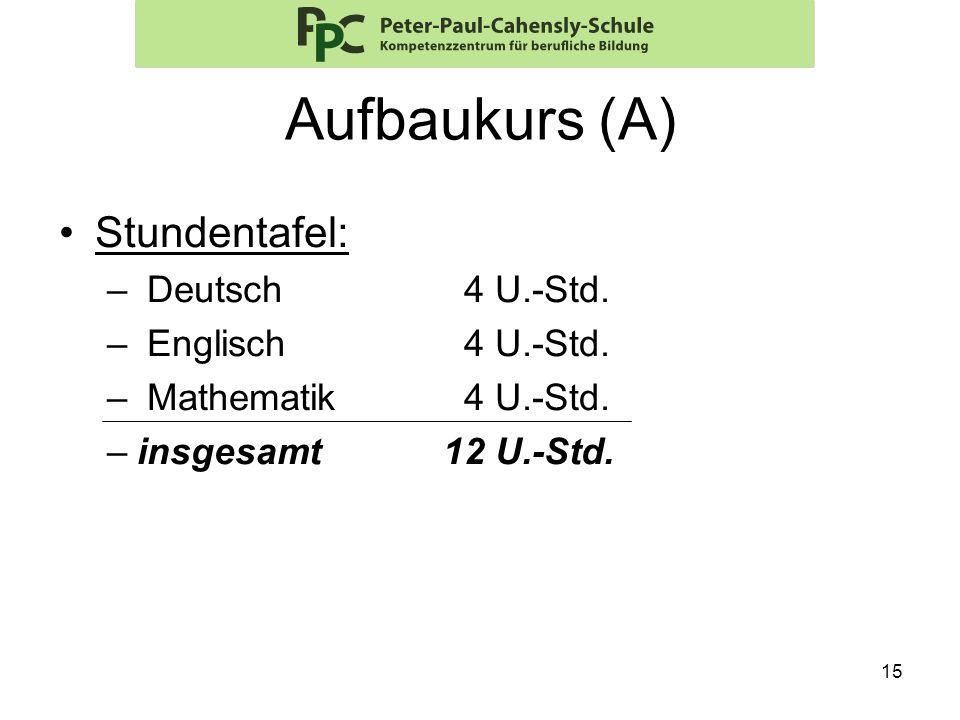 Aufbaukurs (A) Stundentafel: Deutsch 4 U.-Std. Englisch 4 U.-Std.