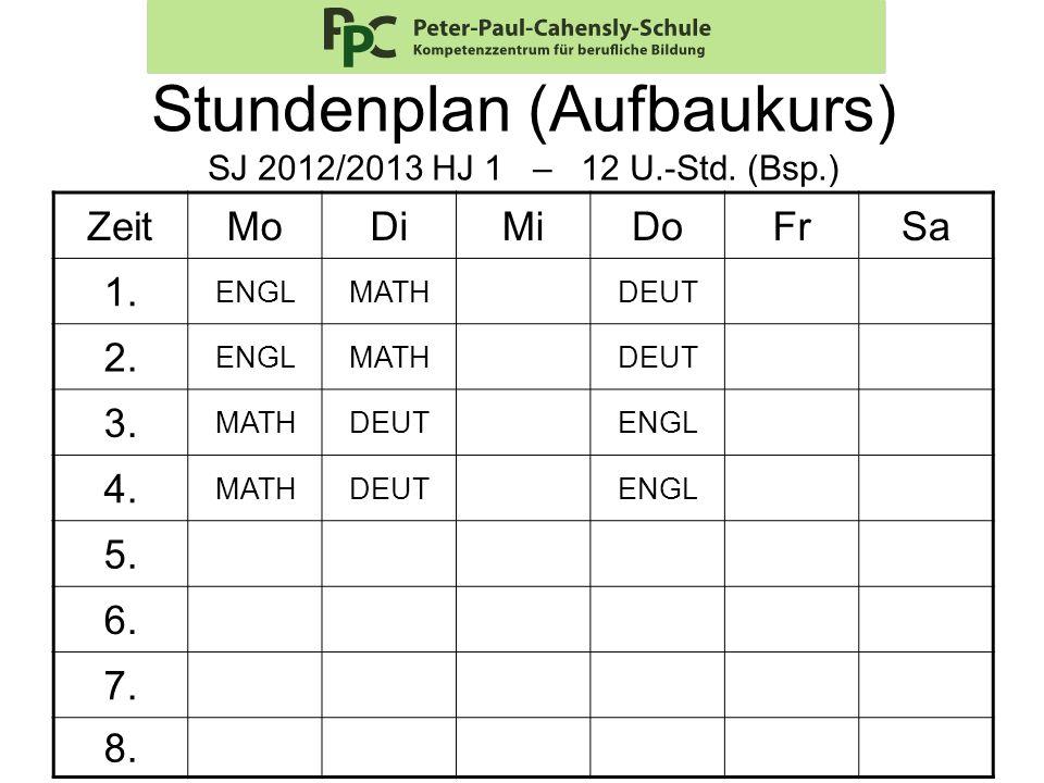 Stundenplan (Aufbaukurs) SJ 2012/2013 HJ 1 – 12 U.-Std. (Bsp.)