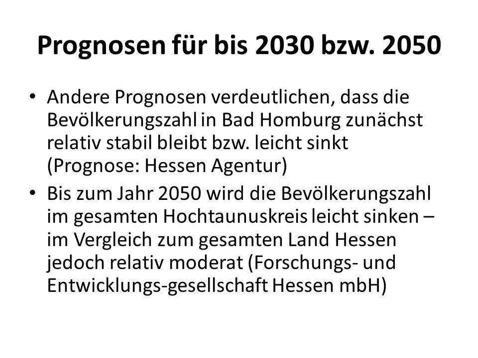 Prognosen für bis 2030 bzw. 2050