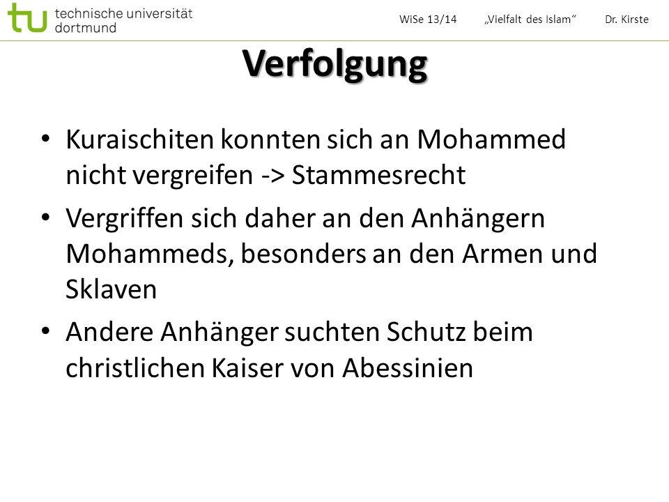 """WiSe 13/14 """"Vielfalt des Islam Dr. Kirste"""