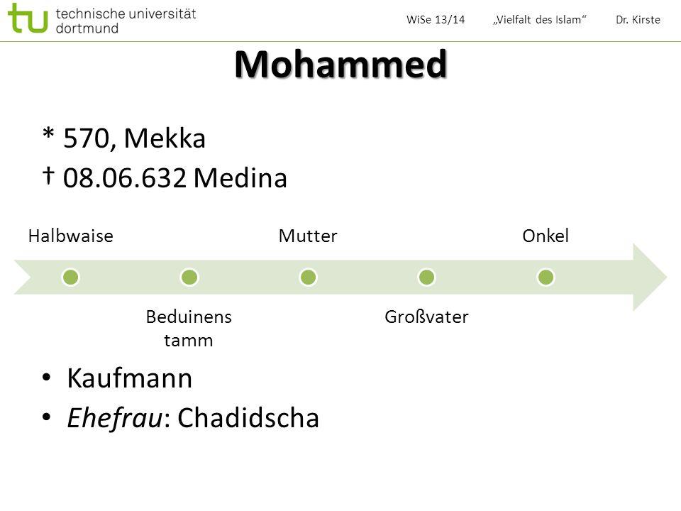Mohammed * 570, Mekka † 08.06.632 Medina Kaufmann Ehefrau: Chadidscha