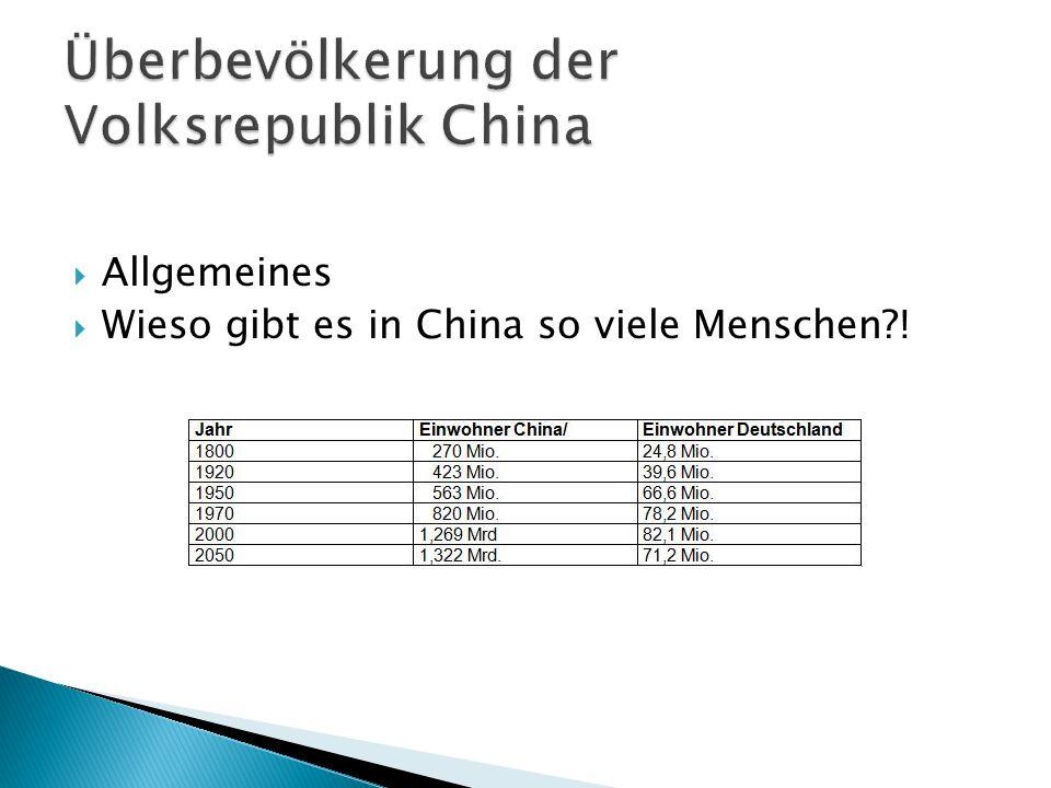 Überbevölkerung der Volksrepublik China