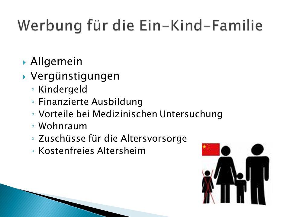 Werbung für die Ein-Kind-Familie