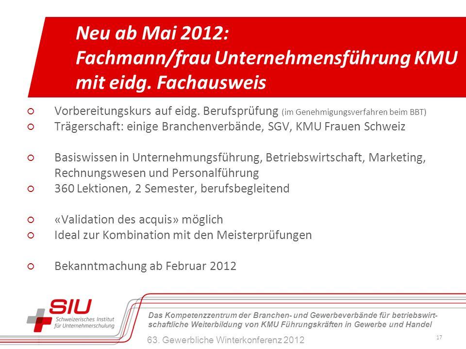Fachmann/frau Unternehmensführung KMU mit eidg. Fachausweis