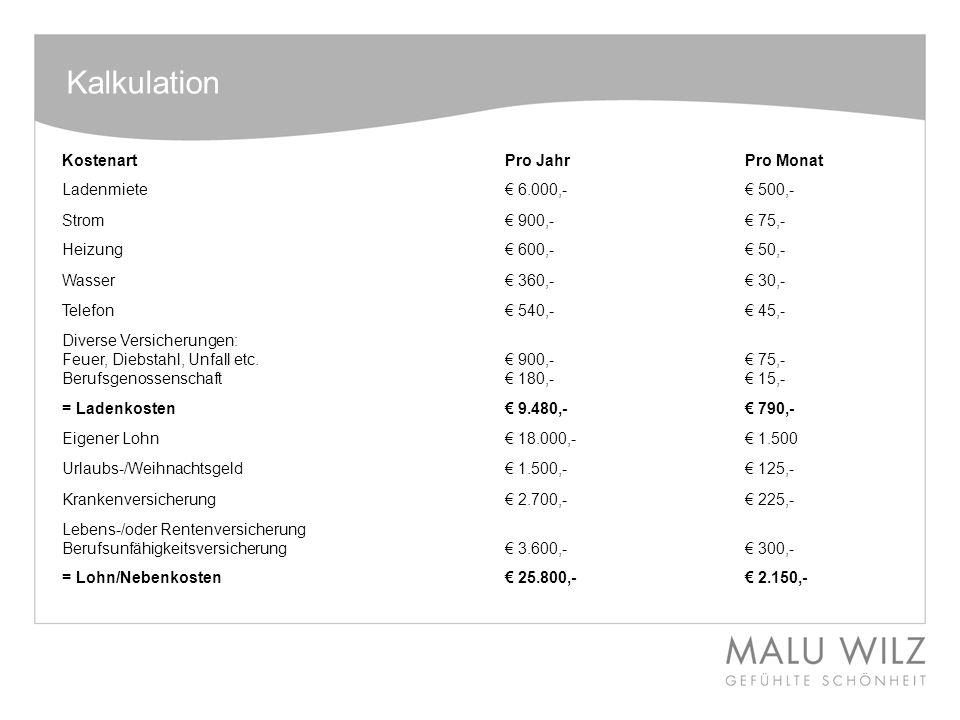 Kalkulation Kostenart Pro Jahr Pro Monat Ladenmiete € 6.000,- € 500,-