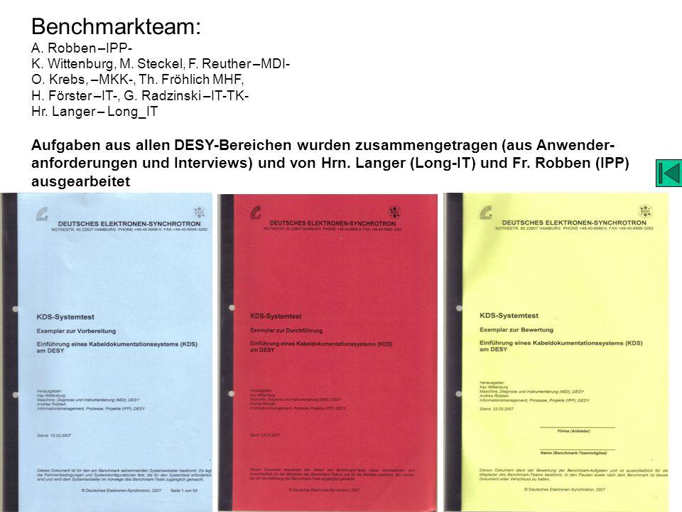 Benchmarkteam: A. Robben –IPP- K. Wittenburg, M. Steckel, F. Reuther –MDI- O. Krebs, –MKK-, Th. Fröhlich MHF,