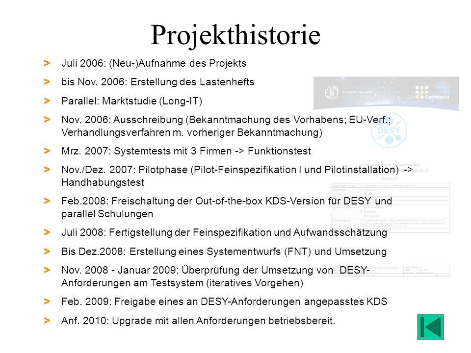 Projekthistorie Juli 2006: (Neu-)Aufnahme des Projekts