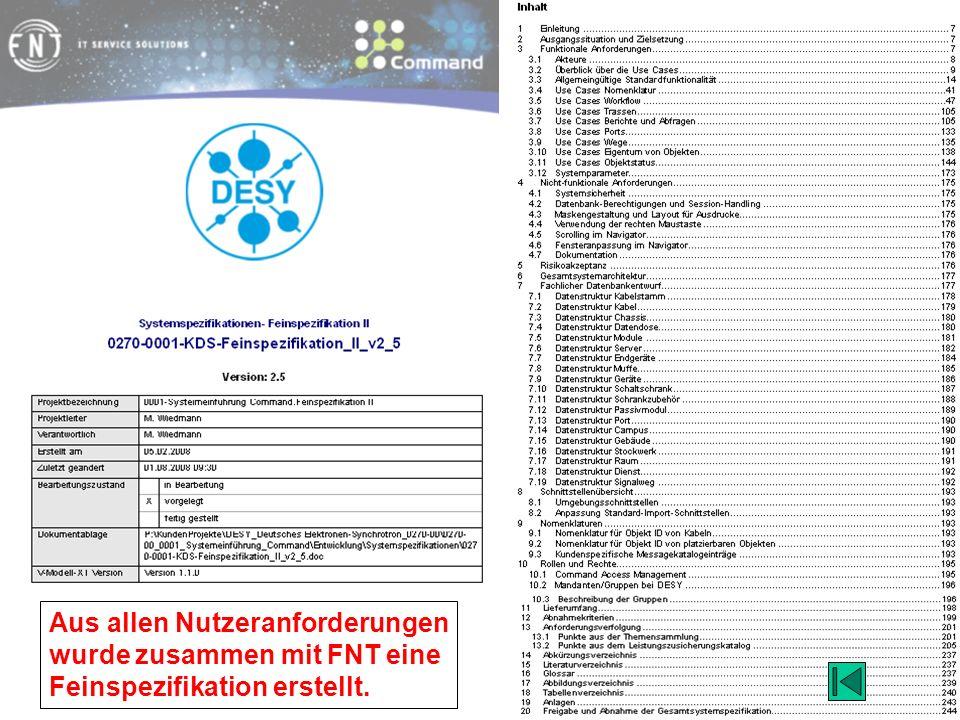 Aus allen Nutzeranforderungen wurde zusammen mit FNT eine Feinspezifikation erstellt.