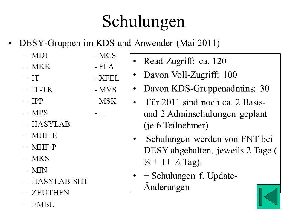 Schulungen DESY-Gruppen im KDS und Anwender (Mai 2011)