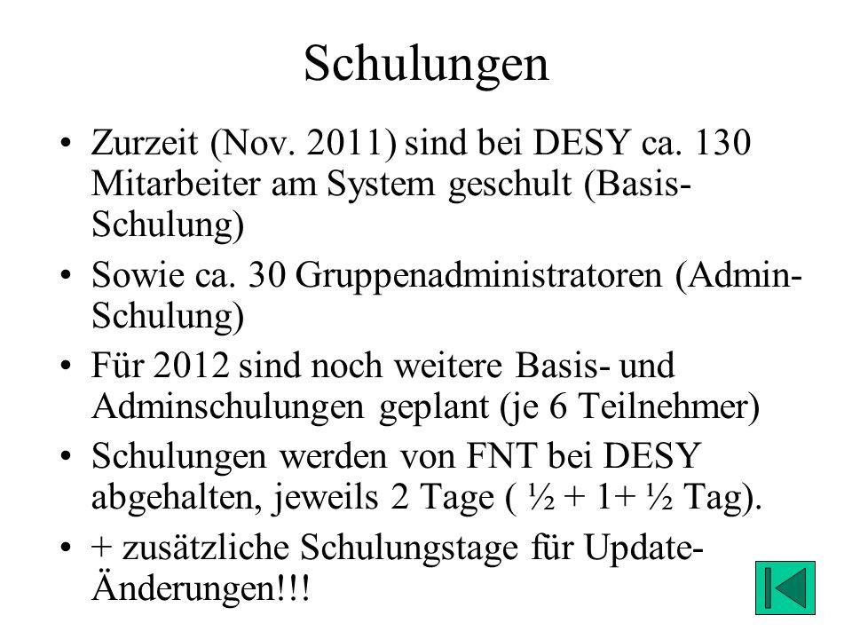 Schulungen Zurzeit (Nov. 2011) sind bei DESY ca. 130 Mitarbeiter am System geschult (Basis-Schulung)