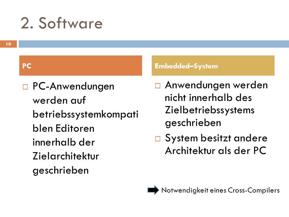 2. SoftwarePC. Embedded–System. PC-Anwendungen werden auf betriebssystemkompati blen Editoren innerhalb der Zielarchitektur geschrieben.