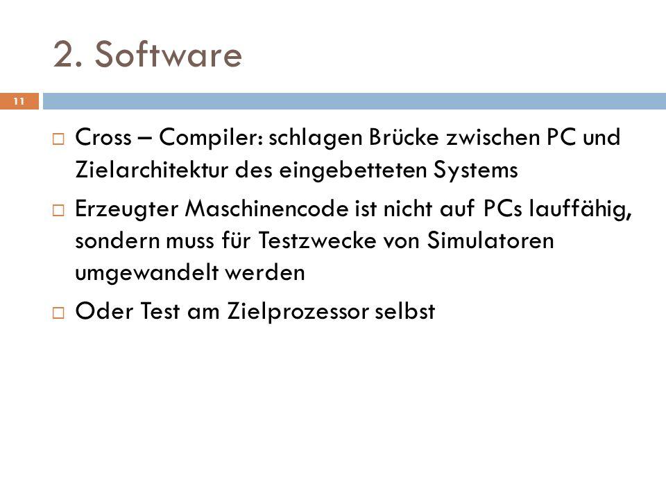 2. SoftwareCross – Compiler: schlagen Brücke zwischen PC und Zielarchitektur des eingebetteten Systems.