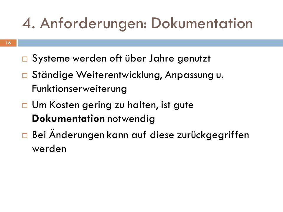 4. Anforderungen: Dokumentation