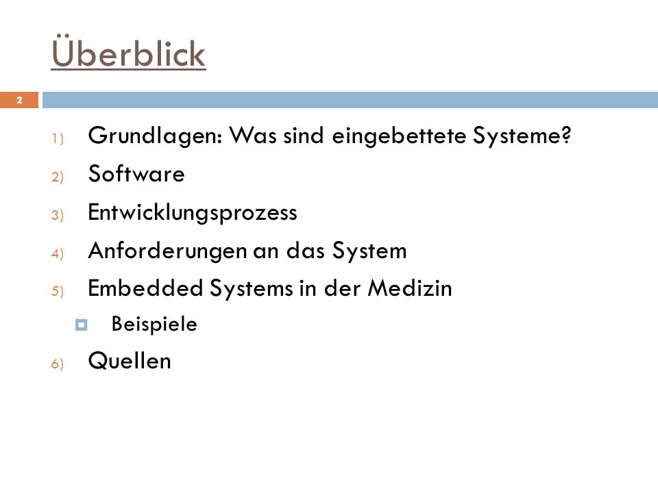 Überblick Grundlagen: Was sind eingebettete Systeme Software