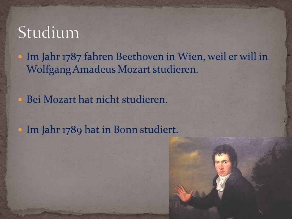 Studium Im Jahr 1787 fahren Beethoven in Wien, weil er will in Wolfgang Amadeus Mozart studieren. Bei Mozart hat nicht studieren.