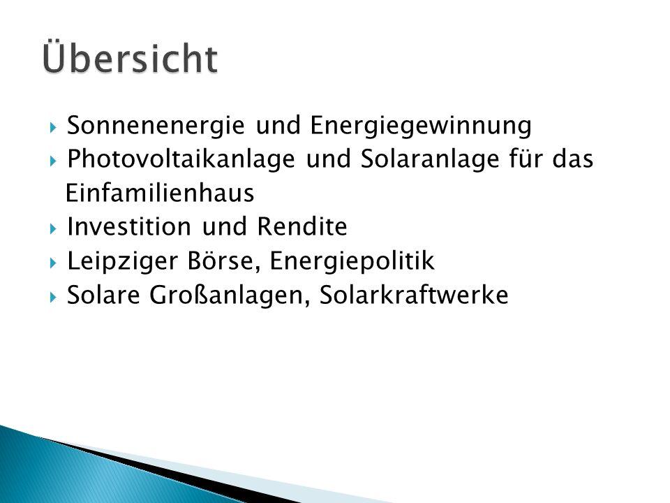 Übersicht Sonnenenergie und Energiegewinnung