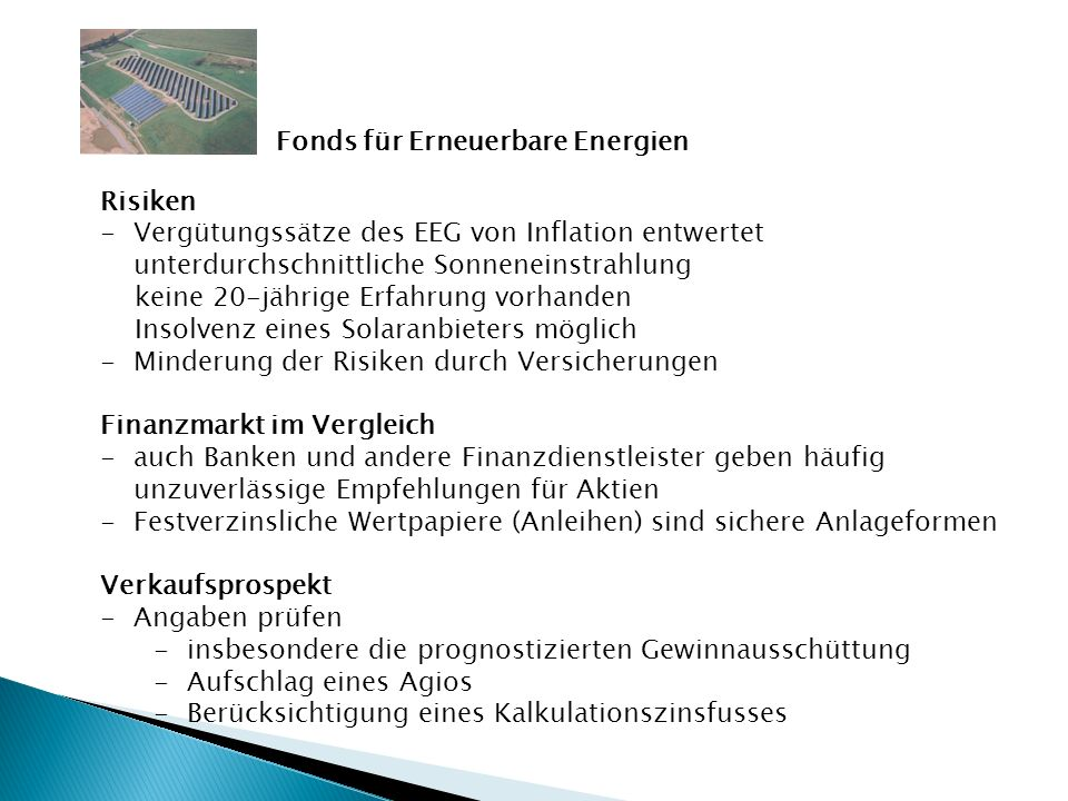 Fonds für Erneuerbare Energien