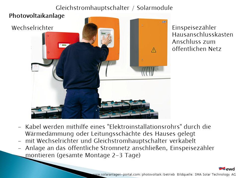 Gleichstromhauptschalter / Solarmodule Photovoltaikanlage