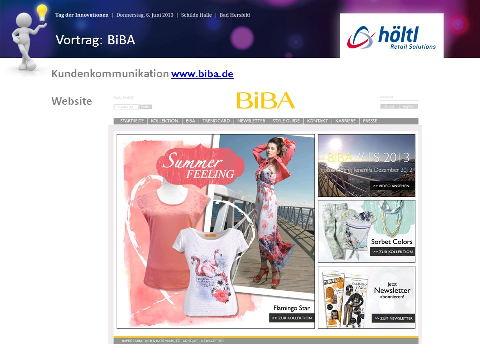 Vortrag: BiBA Kundenkommunikation www.biba.de Website