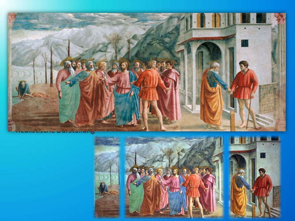 DER ZINSGROSCHEN Fresko, Bestandteil des Freskenzyklus in der Brancacci-Kapelle. Realisierung: 1425-1428 → Meisterwerk.