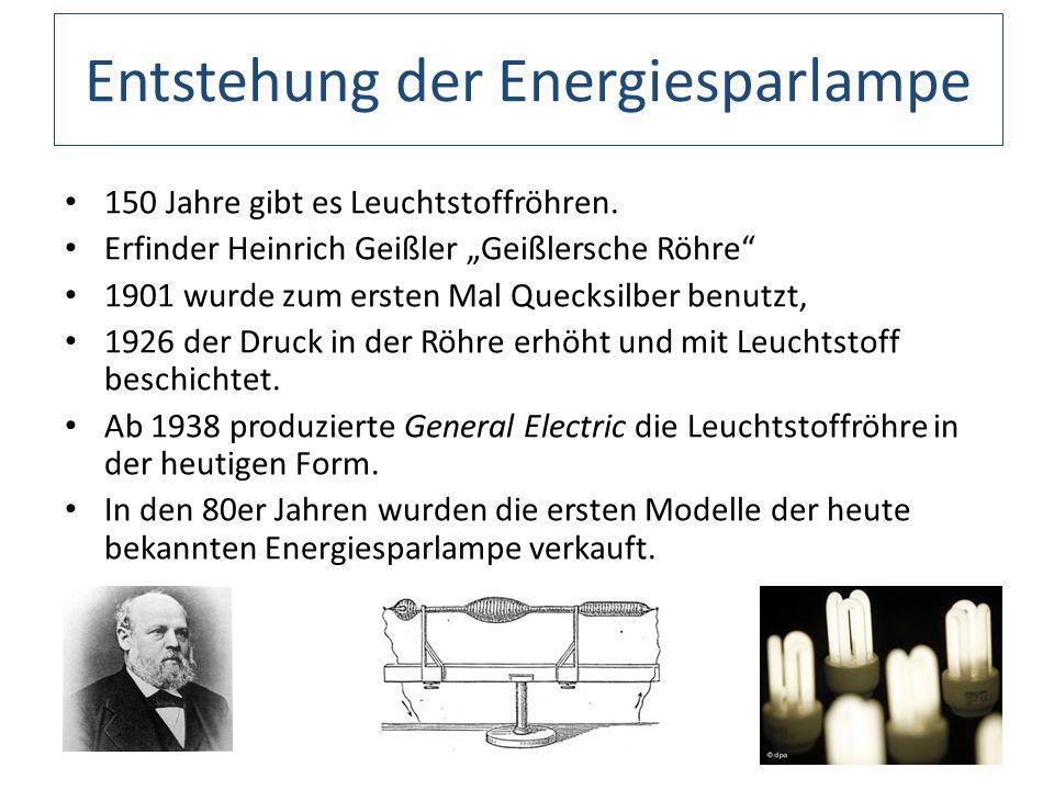 Entstehung der Energiesparlampe