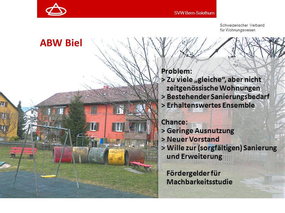 """ABW Biel Problem: > Zu viele """"gleiche , aber nicht zeitgenössische Wohnungen. > Bestehender Sanierungsbedarf > Erhaltenswertes Ensemble."""