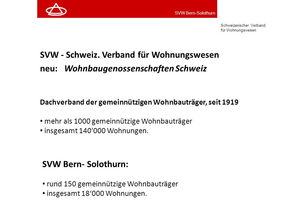 SVW - Schweiz. Verband für Wohnungswesen